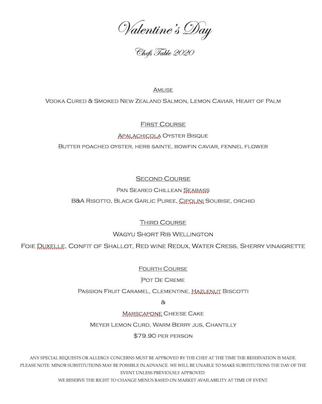 Chefs table vday menu