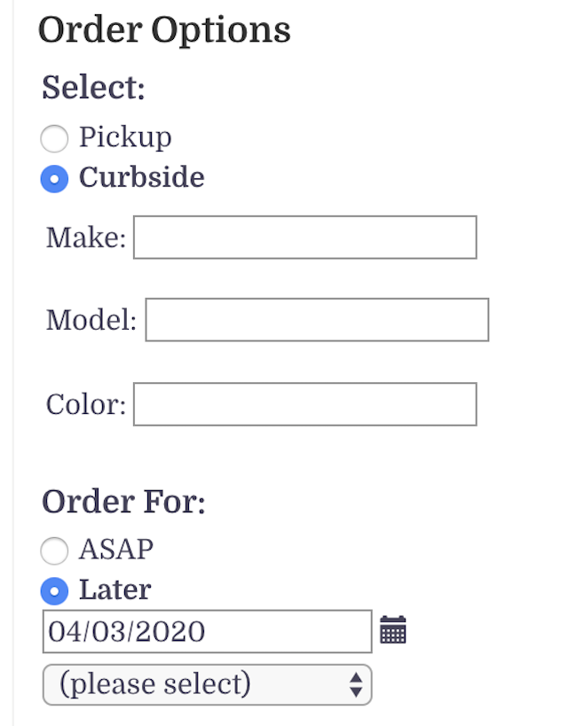 FWtakeout options
