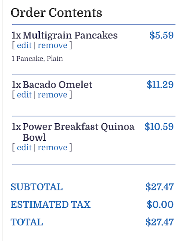 FWtakeout order list