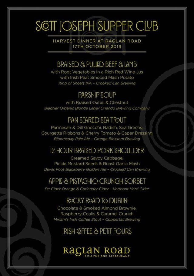 Raglan Supper Club menu
