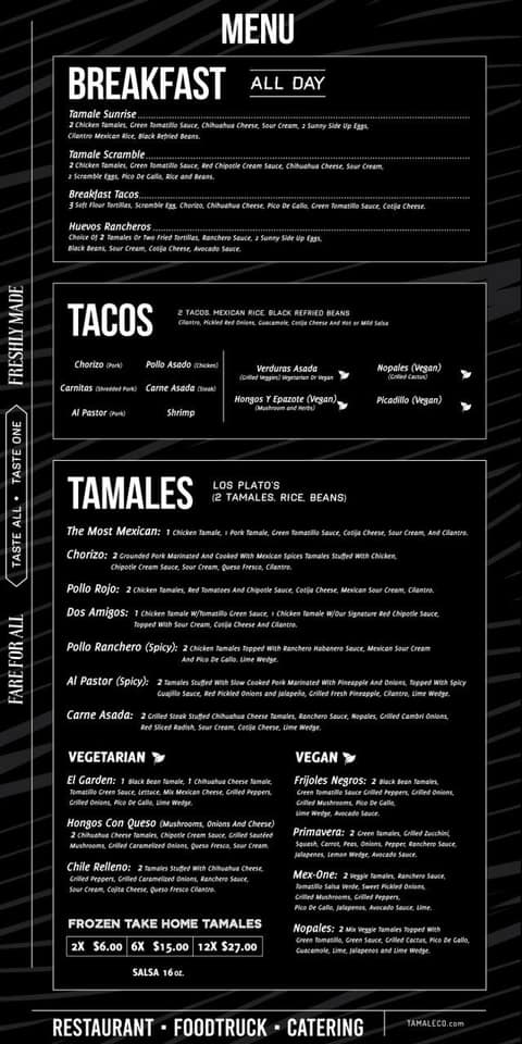 Tamale takeout menu