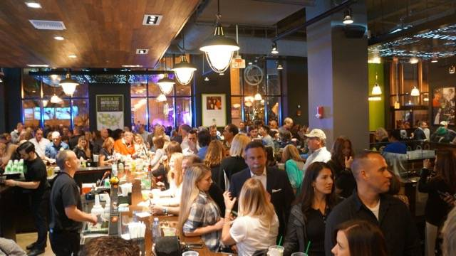 Wahlburgers opening crowded bar