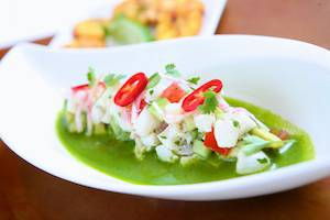 Halibut Ceviche with Green Tomotillo Salsa and Plantain Chips 042712 copy